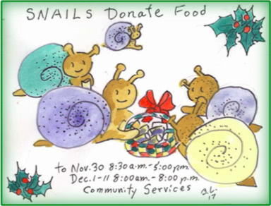 SNAILs Donate Food - Nov 30 8:30 am to 5:00 pm. Dec 1-11 8:00 am to 8:00 pm. Sunnyvale Community Services.